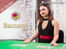 Evolution Live Baccarat at Regal Wins Casino part of The Rank Group