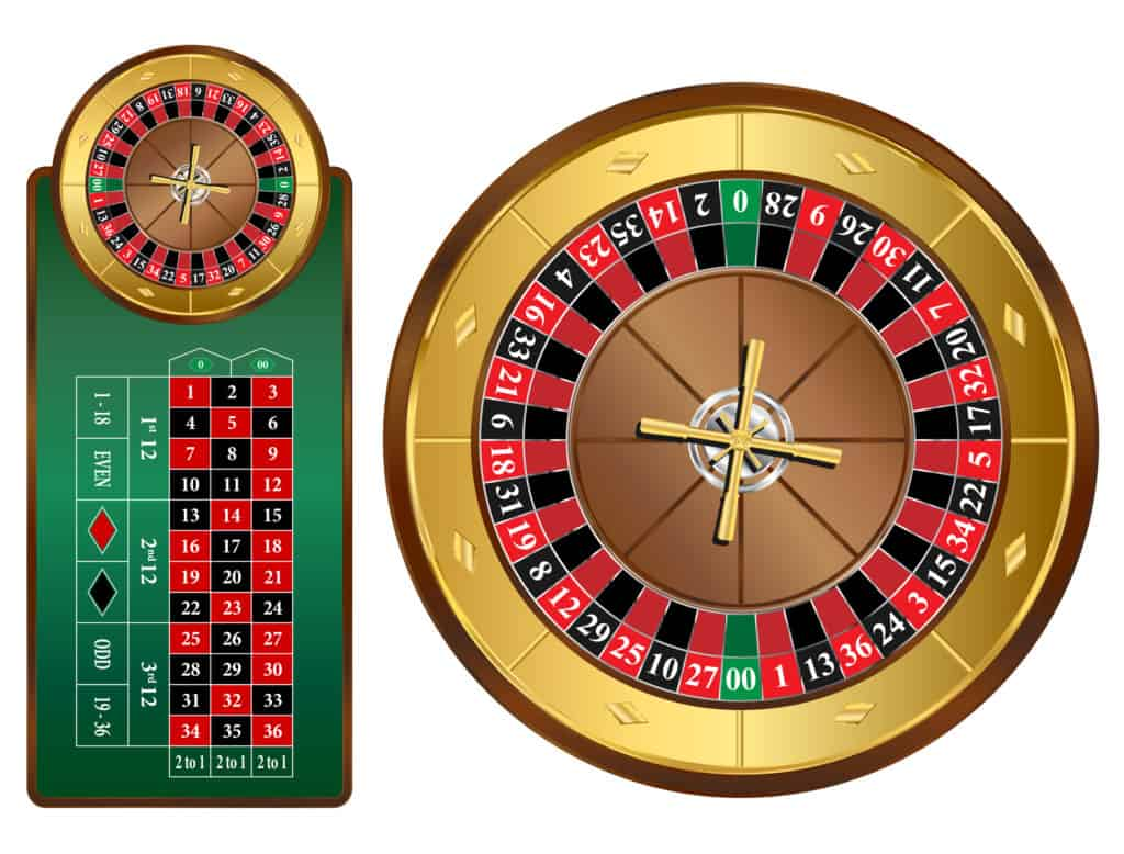 American,Style,Roulette,Wheel,And,Table,Vector,Illustration