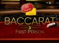 First person Baccarat Casino game at Mr Green in the tables game section of the Gambling site.